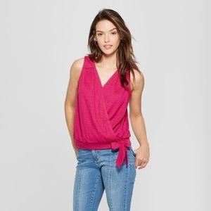 Women's Wrap Front Knot Blouse - Universal Threads